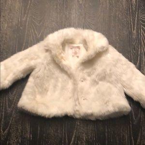 Girls White Faux Fur Coat